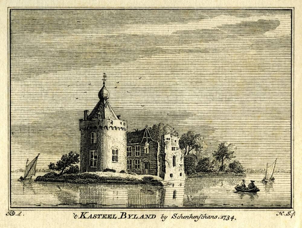 Kasteel Byland in Pannerden. Tekening Jan de Beijer, gravure Hendrik Spilman (Uit: Het Verheerlykt Nederland, Isaac Tirion, 1745/1774)
